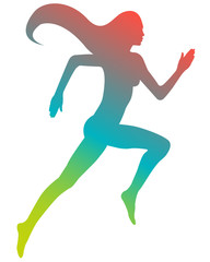 Colored silhouette running girl with long hair