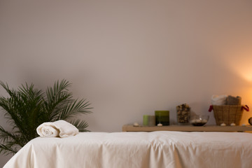 Spa still life at beauty salon interior with aromatic candles an