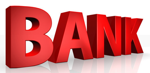 3D bank text on white background