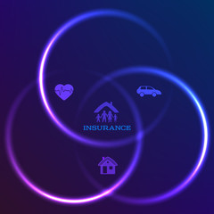 concept of family insurance dark background glow circles
