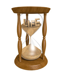 Time passing as sand in an hourglass trickles and life runs out