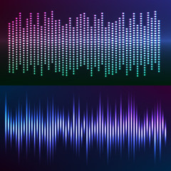 glow effect music equalizer dark background set