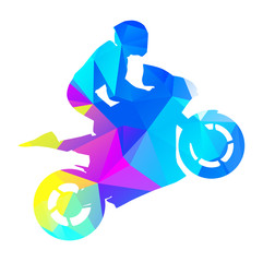 Abstract vector moto racer. Geometrical graphic style