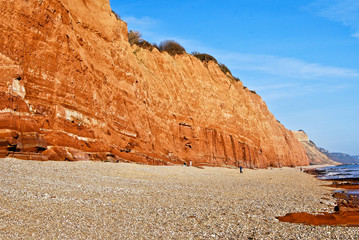 Sidmouth seafront with cliffs of Jurassic Coast, Devon England