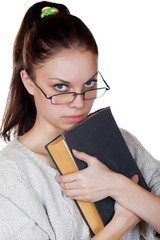 girl with the book isolated on a white background