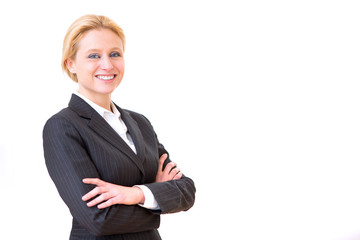 Young attractive business woman on a white background