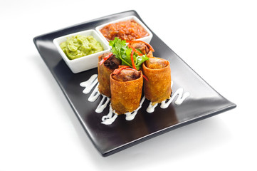 Springroll - traditional Asian appetizer on a plate