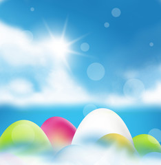 Easter eggs color and sunshine