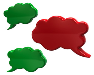 Green and red speech bubbles