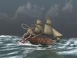 Kraken atacando a un antiguo barco - 77334576