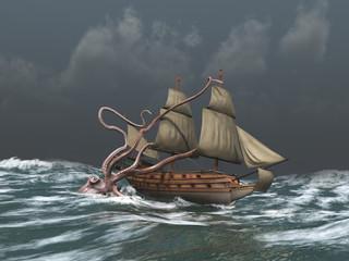 Kraken atacando a un antiguo barco