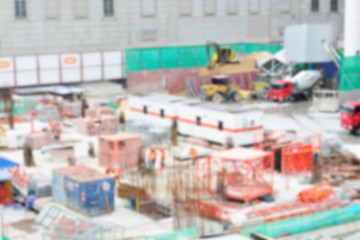 Blur or defocus image of Worker in Construction site as backgrou