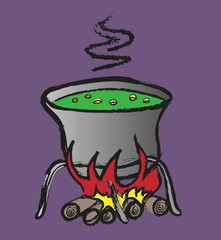 doodle halloween witch's cauldron with green bubbling