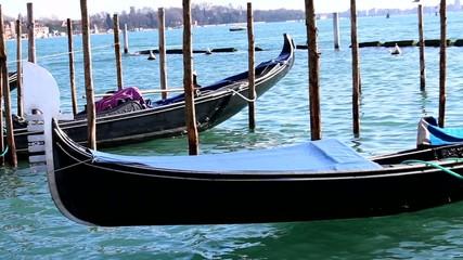 gondola in venice italy near st mark square at high tide