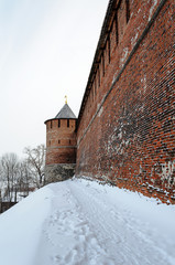 Kremlin wall and tower at Nizhny Novgorod in winter