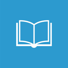 book icon, isolated, white on the blue background.