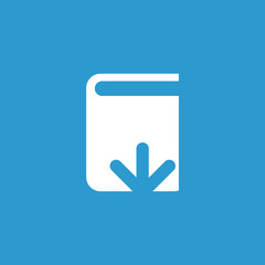 book download icon, isolated, white on the blue background.