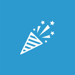 firecracker icon, isolated, white on the blue background.