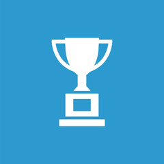 cup icon, isolated, white on the blue background.