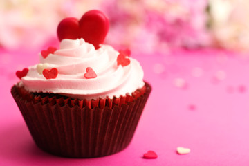 Delicious cupcake for Valentine Day close-up