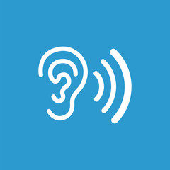 ear icon, isolated, white on the blue background.