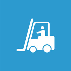 forklift in operation outline icon, isolated, white on the blue