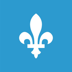 fleur-de-lys outline icon, isolated, white on the blue backgroun