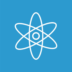 atom outline icon, isolated, white on the blue background.