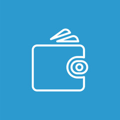 Wallet outline icon, isolated, white on the blue background.