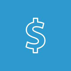 dollar outline icon, isolated, white on the blue background.