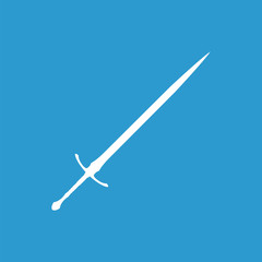 sword icon, isolated, white on the blue background.