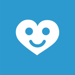 heart smile icon, isolated, white on the blue background.