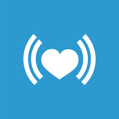 heart beat icon, isolated, white on the blue background.