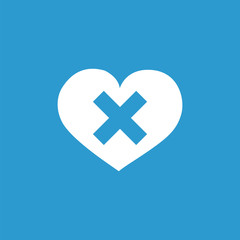 heart plaster icon, isolated, white on the blue background.