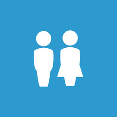 girl and boy icon, isolated, white on the blue background.
