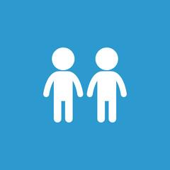 couple icon, isolated, white on the blue background.