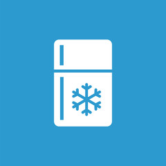 refrigerator icon, isolated, white on the blue background.
