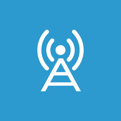 antenna icon, isolated, white on the blue background.