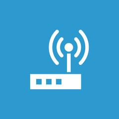 modem icon, isolated, white on the blue background.