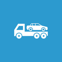car evacuator icon, isolated, white on the blue background.