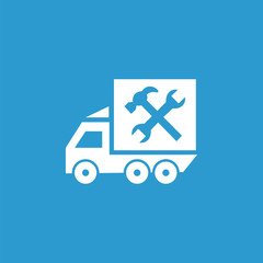 car service icon, isolated, white on the blue background.