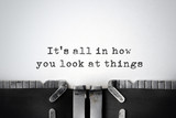 Fototapety Perspectives. Inspirational quote typed on an old typewriter.