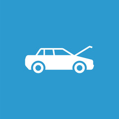 car hood icon, isolated, white on the blue background.