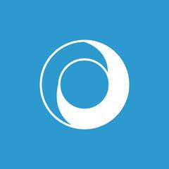 yin yang icon, isolated, white on the blue background.