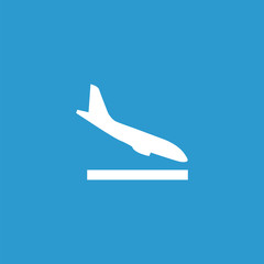 airplane landing icon, isolated, white on the blue background.