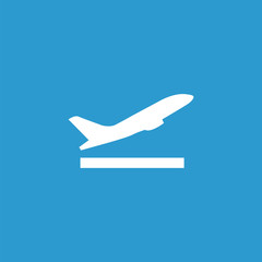 airplane up icon, isolated, white on the blue background.