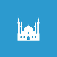 mosque icon, isolated, white on the blue background