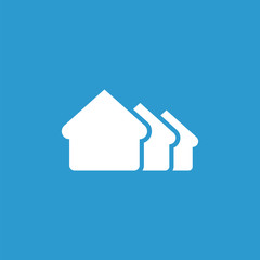 building icon, isolated, white on the blue background.