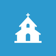 church icon, isolated, white on the blue background.