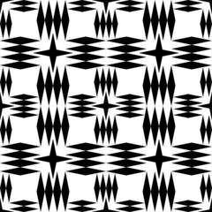 Black and white geometric seamless pattern with rhombus.